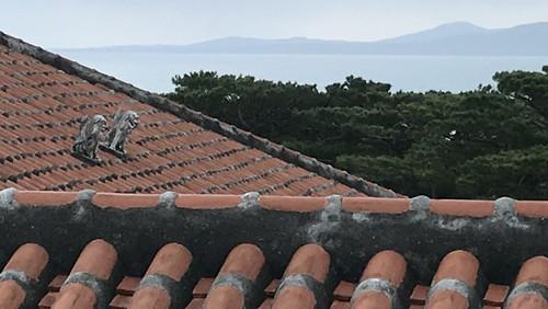 あまり気付かれない屋根の上のシーサー:向こうは西表山