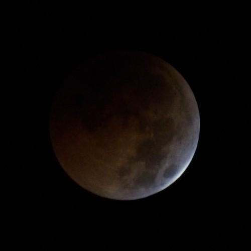 皆既月食が進むとぼんやり影の部分が浮かんでくる