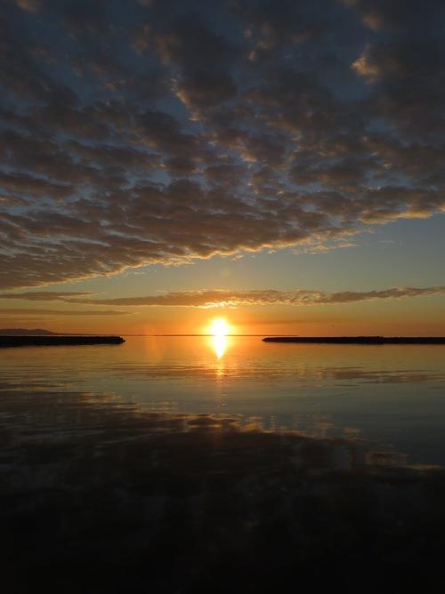 走って港まで出てみた。海は鏡の様に凪いでいる...